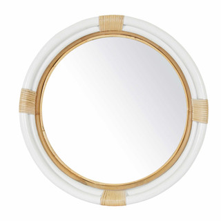 "24"" Marina Round Rattan Mirror, White"